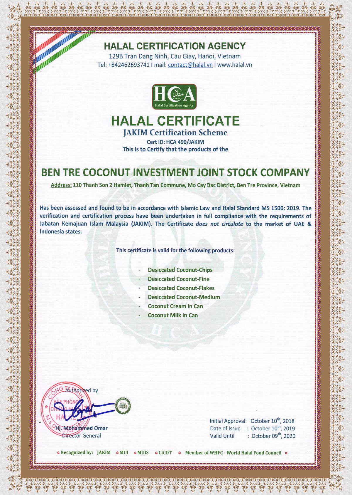 HALAL CERTIFICATION (JAKIM)