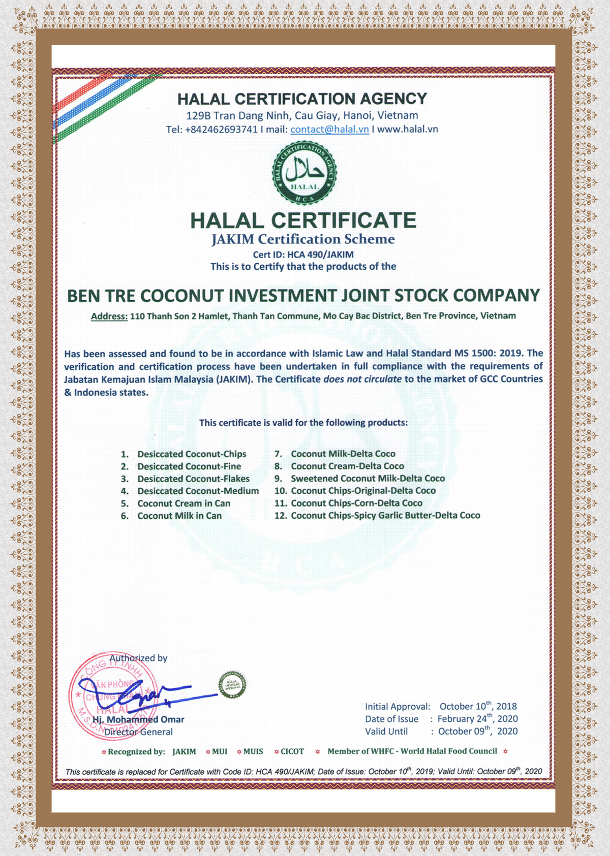 HALAL CERTIFICATION (JAKIM)