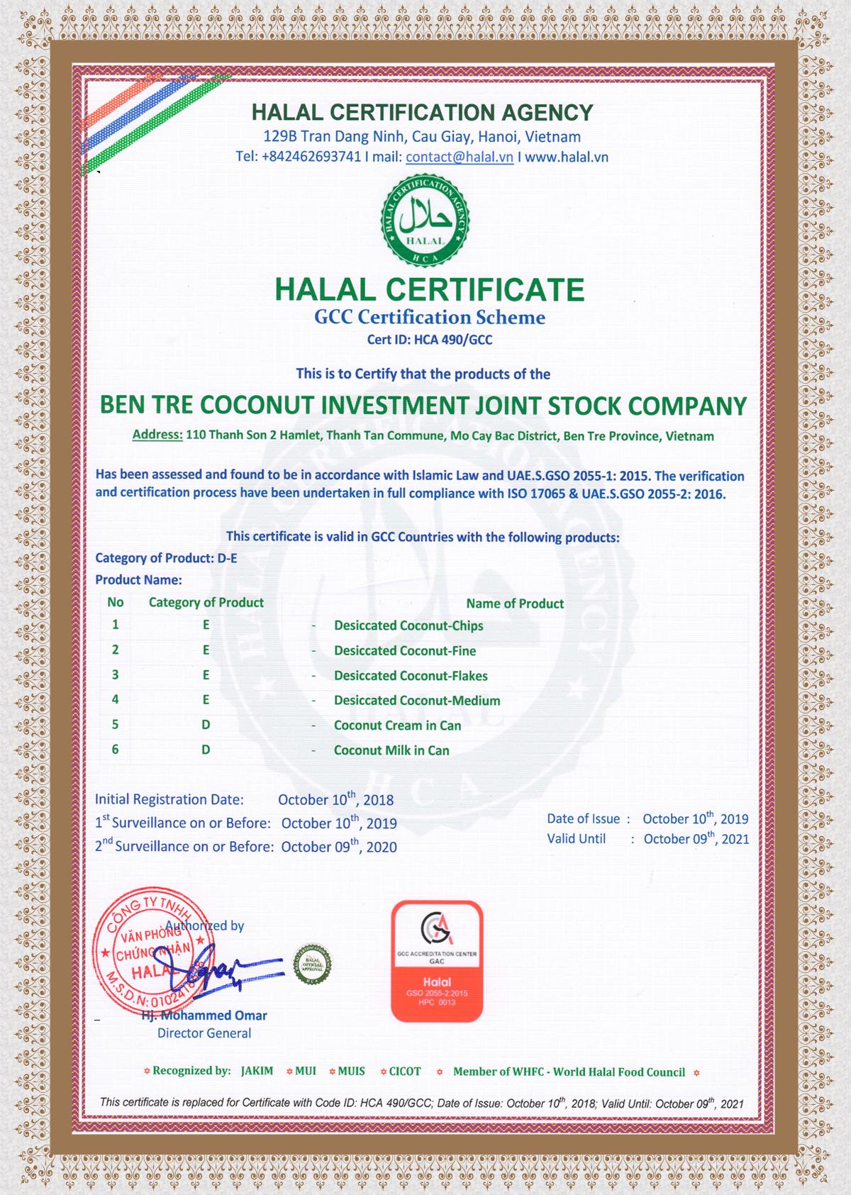 Chứng nhận HALAL (UAE)